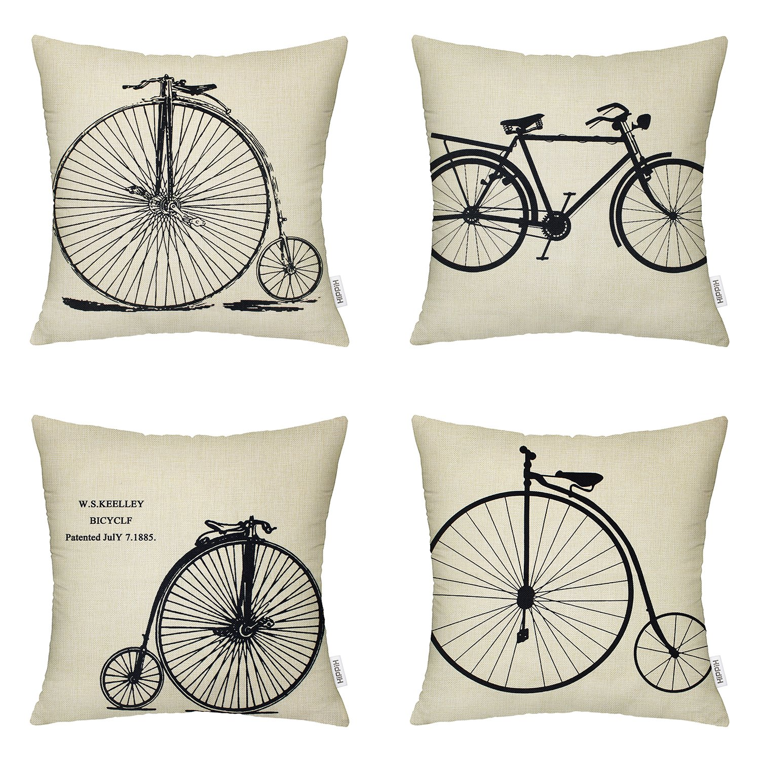 HIPPIH 18 X 18 Inch Pillow Cover(Set of 4) Linen Sofa Home Decor Design Cotton Throw Pillow Case Cushion, 4 Bikes