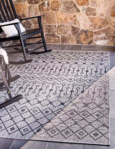 Unique Loom Outdoor Trellis Collection Tribal Geometric Transitional Indoor and Outdoor Flatweave Light Gray Area Rug 9' 0 x 12' 0