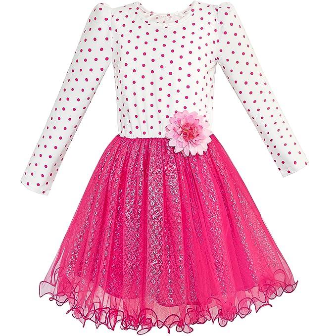Sunny Fashion Vestido para niña Largo Manga Algodón rojo Flor ...
