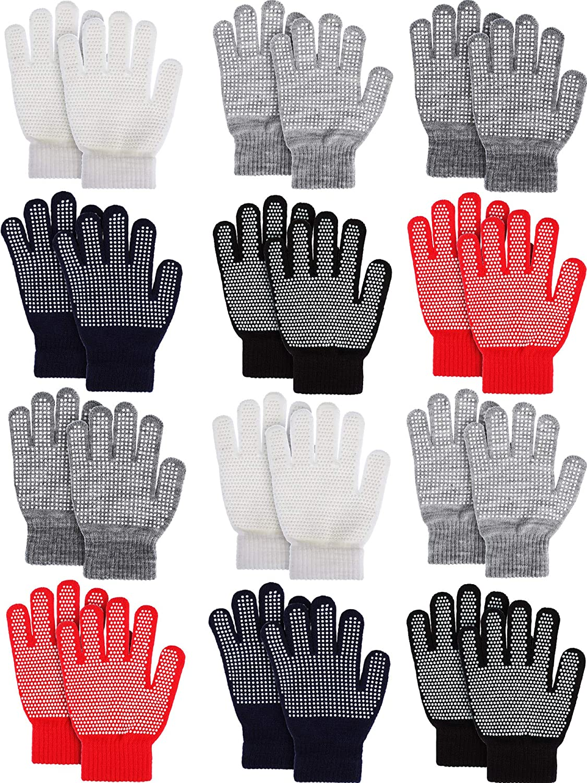 Sumind 12 Pairs Full Finger Gloves Grip Mittens Children Anti-slip Winter Gloves for Boys and Girls