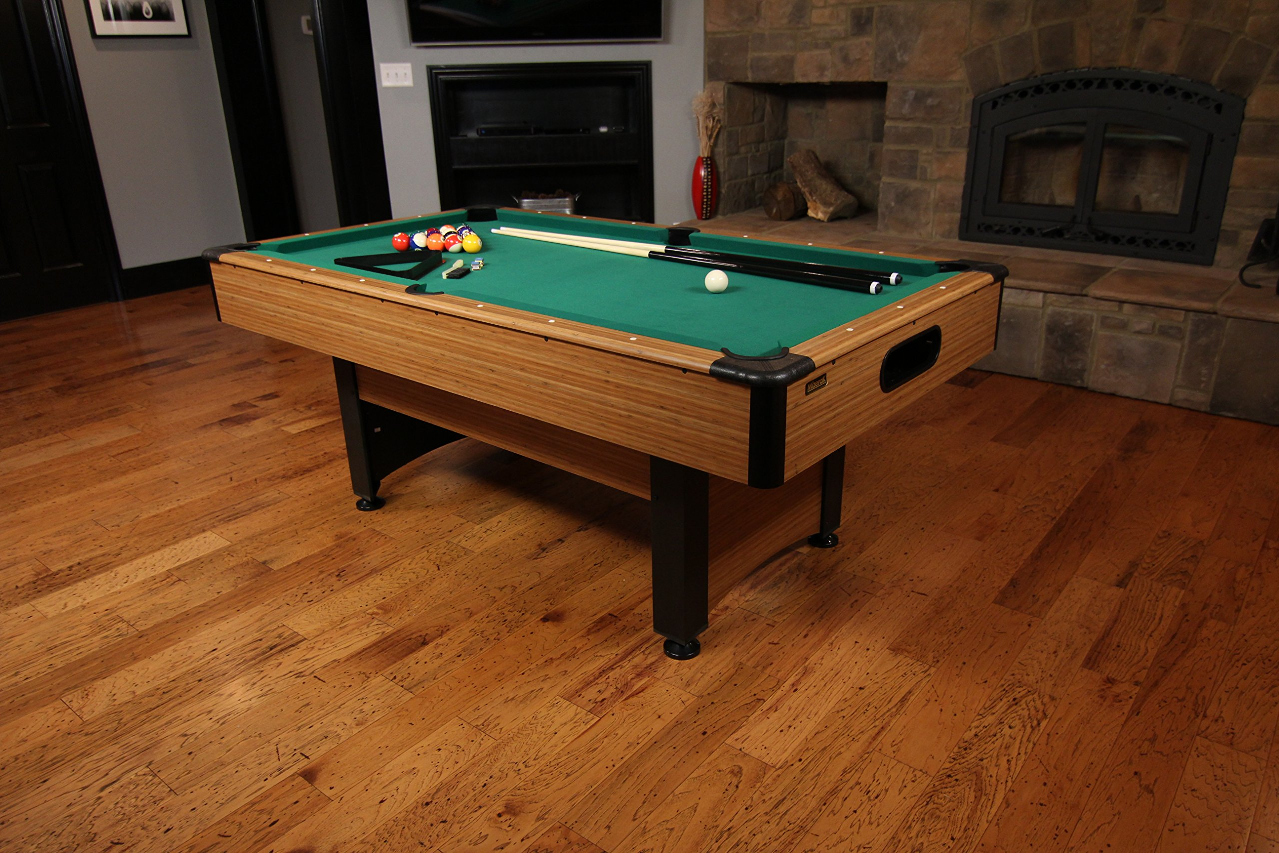 Mizerak Dynasty Space Saver 6.5' Billiard Table with Compact Design to Fit in Smaller Rooms, Leg Levelers for Perfectly Even Playing Surface, Double-sealed MDF Play-bed for Consistent Roll and Automatic Ball Return for Quick Game Reset by Mizerak (Image #2)