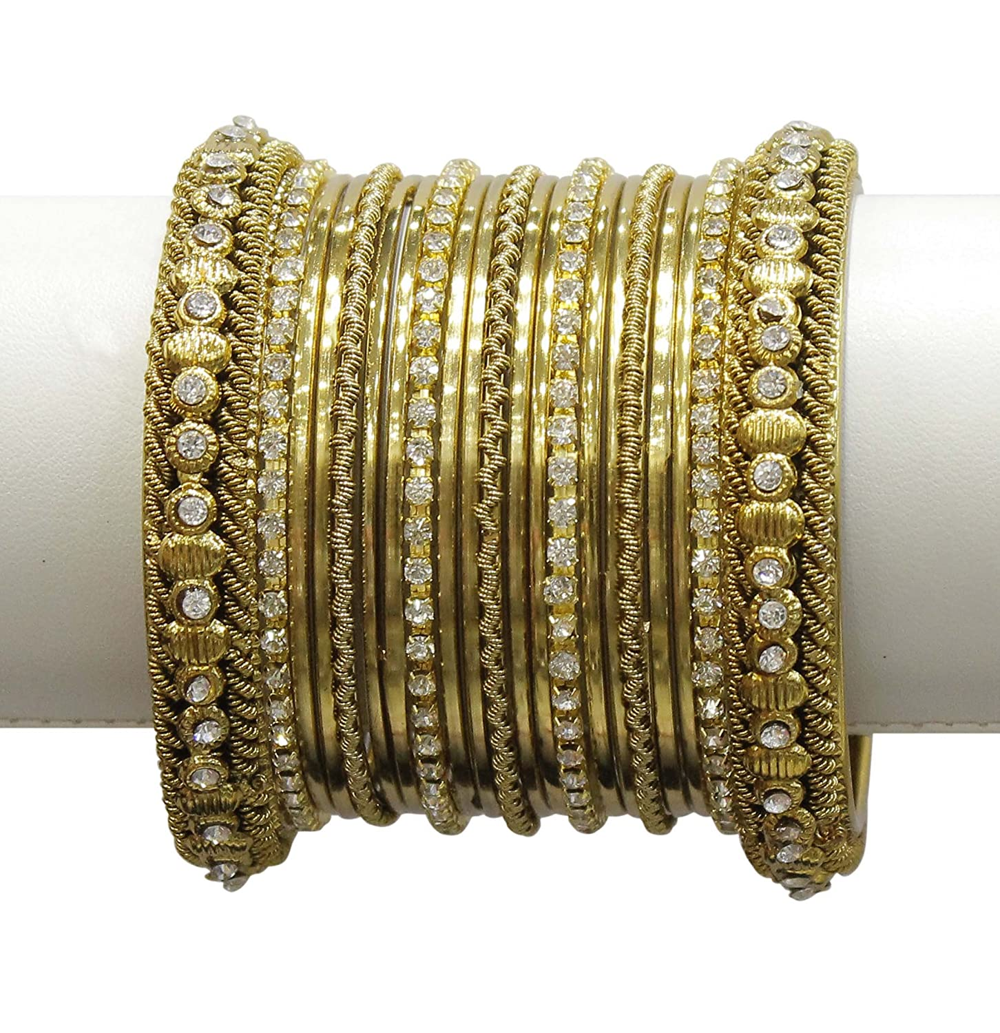 MuchMore Beautiful Traditional Indian Bollywood Style Antique Gold Plated Polki Bangle Jewelry MB-80