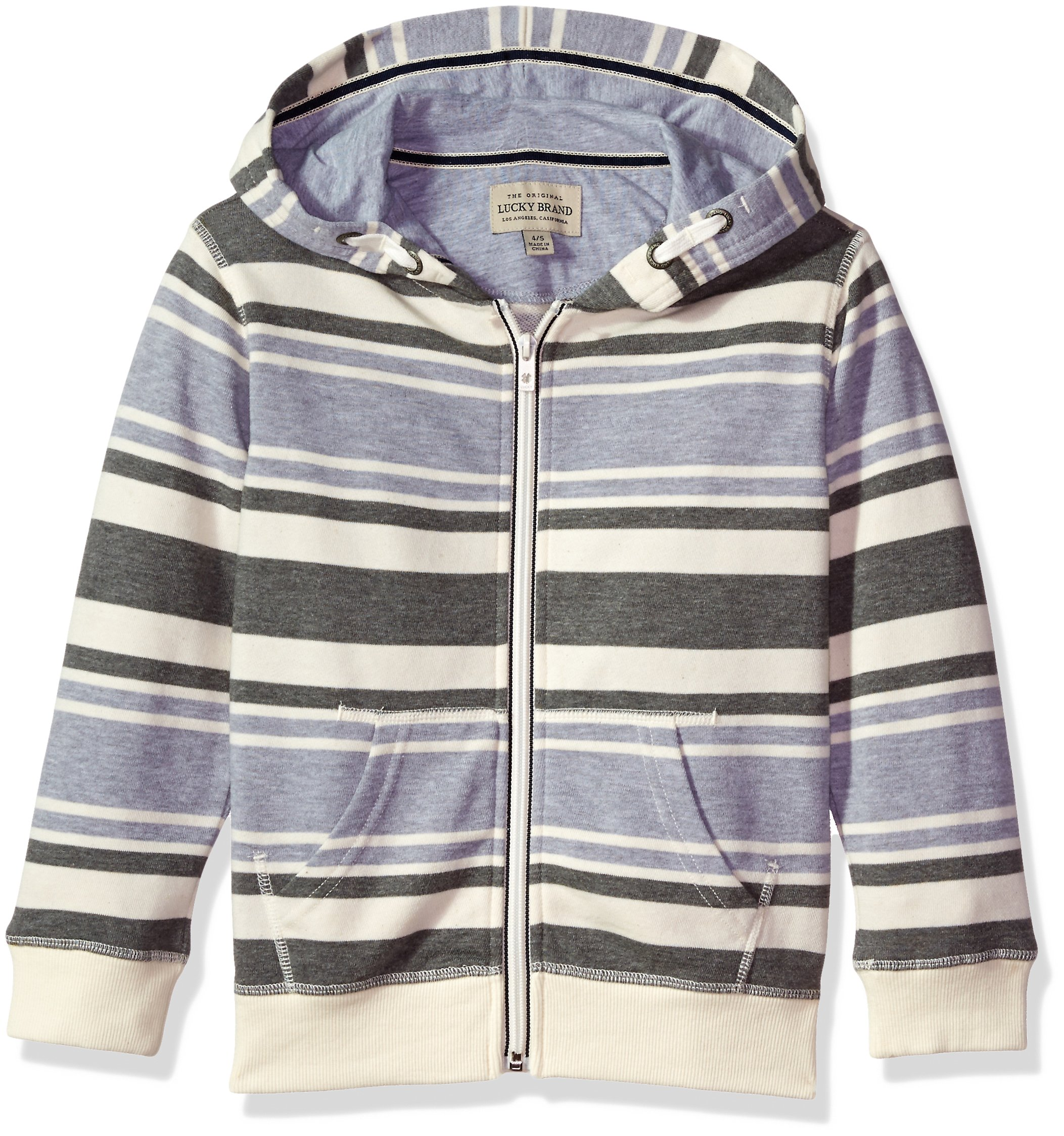 Lucky Brand Boys' Big' Long Sleeve Stripe French Terry Full Zip Hoodie, Birch, X-Large (18/20)