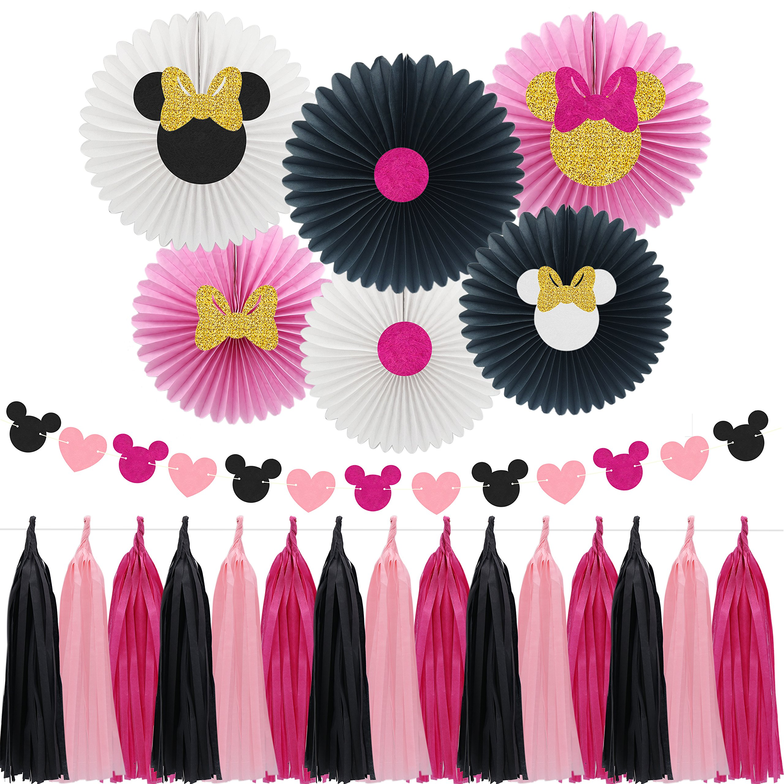 Minnie Mouse Party Decoration Supplies, Pattern Paper Fans with Pink & Black Paper Tassel Garland, Perfect for Girls Birthday Party