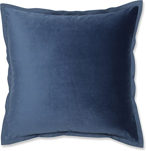 Pillow Perfect Velvet Flange Azure Blue 18-inch Throw Pillow