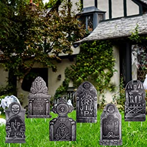 """DMIGHT Halloween Decoations Outdoor,6 Pack Large Size(15"""" x 11"""") Yard Decorations for Haunted House,HalloweenWarning Tombstone Beware Yard Signs"""