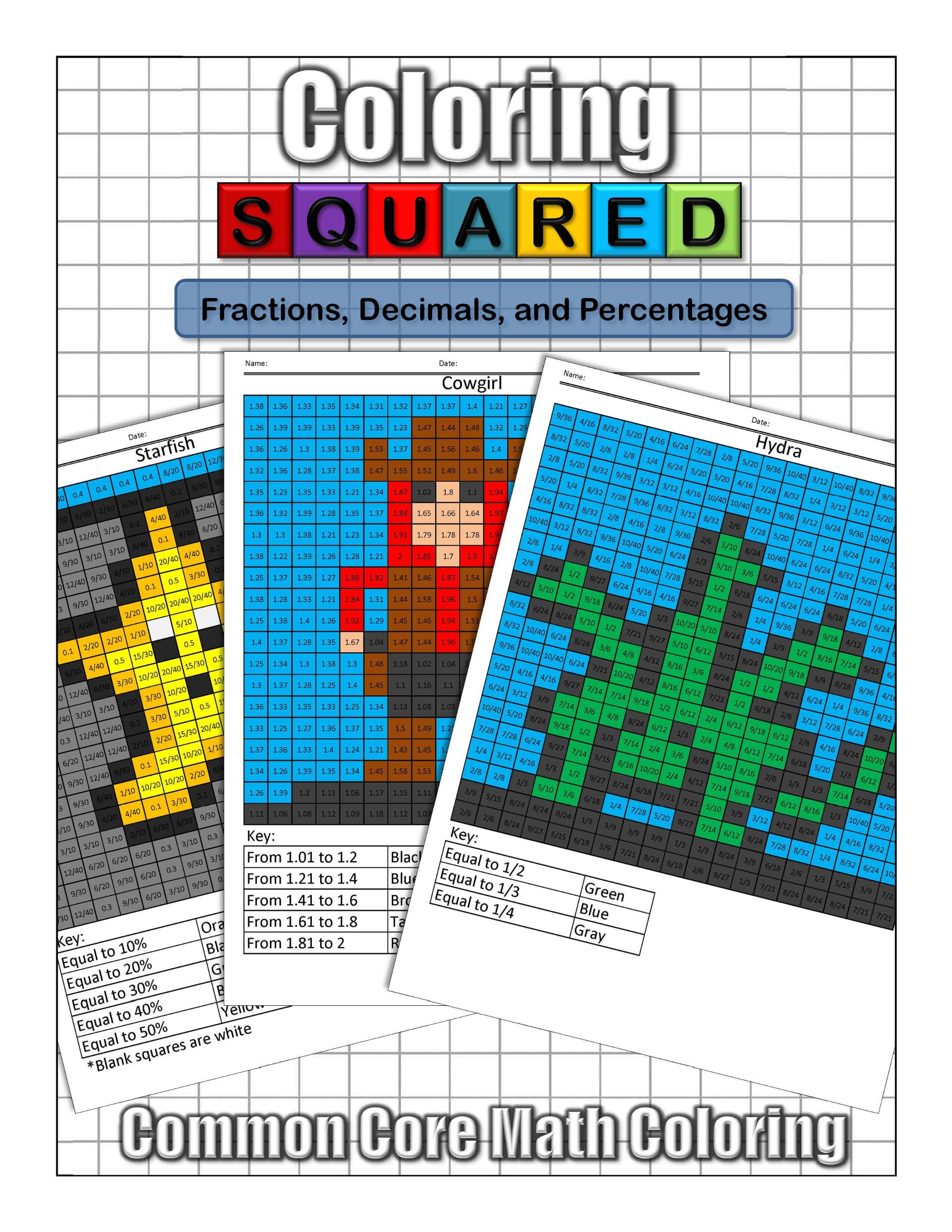 Coloring Squared: Fractions, Decimals, and Percentages: Cameron ...