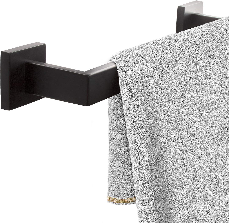 Porte-Serviette carr/é en Acier Inoxydable 40cm Noir Porte-Serviette avec vis Noirs ECENCE Porte-Serviette pour Montage Mural