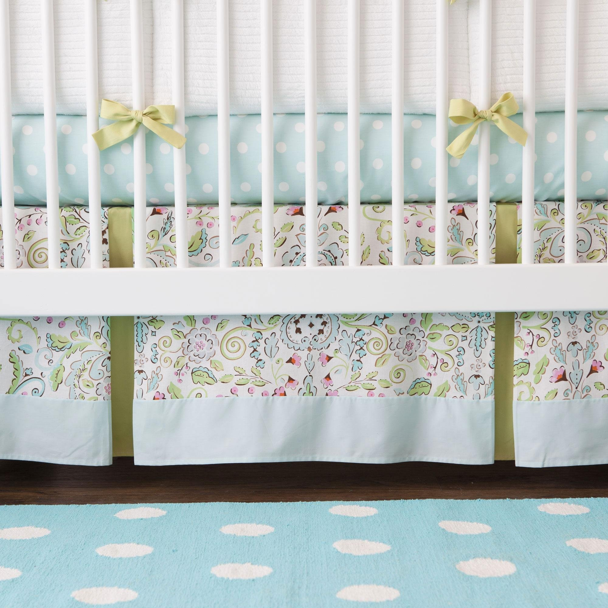 Carousel Designs Bebe Jardin Crib Skirt Two Front Pleats 14-Inch Length by Carousel Designs