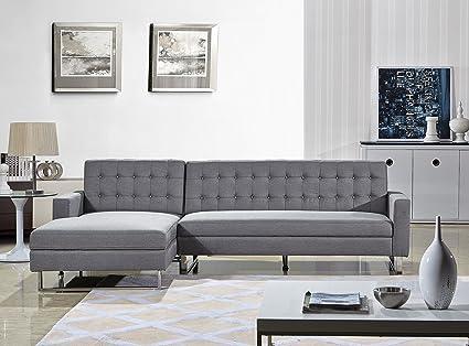 US Pride Furniture Dorris Gray Fabric Contemporary Facing Left Chaise  Sectional Sofa Set