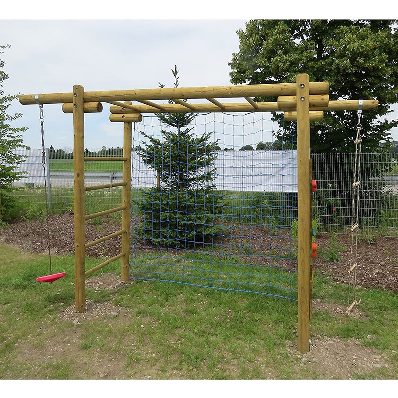 Kinder-Klettergerüst Classic aus Holz mit Netz für Fußballtor ...