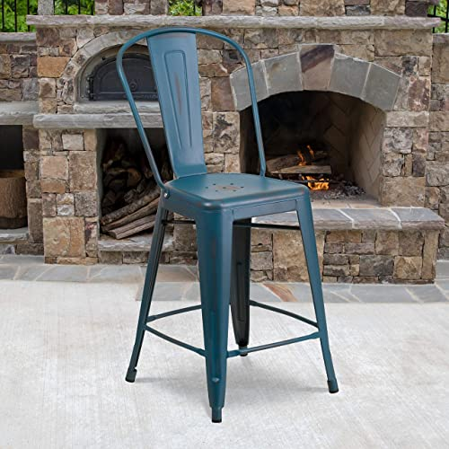 EMMA OLIVER Commercial Grade 24″ H Distressed Blue Metal Indoor-Outdoor Counter Stool