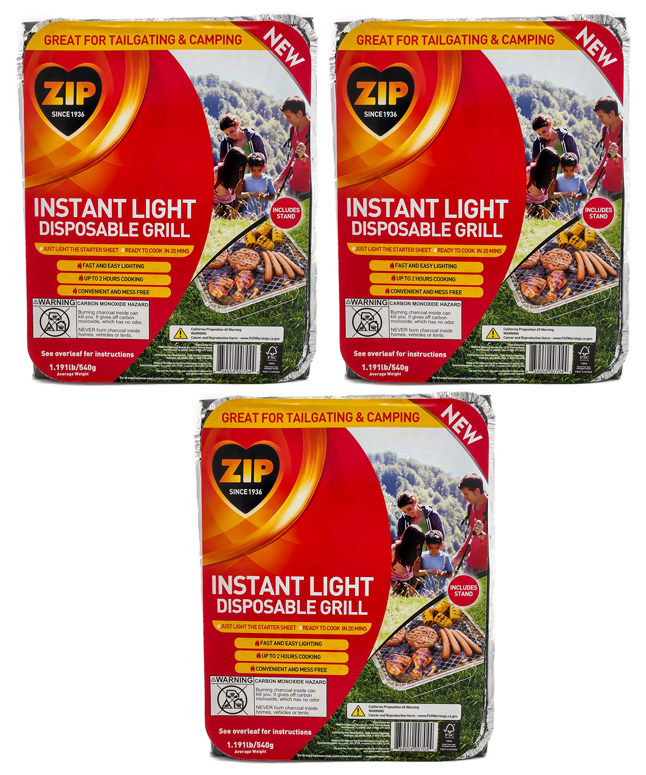 Zip Instant Light Disposable 500-Gram Charcoal Briquette BBQ Grill/Tray Multi-Pack (3-Count) by Zip