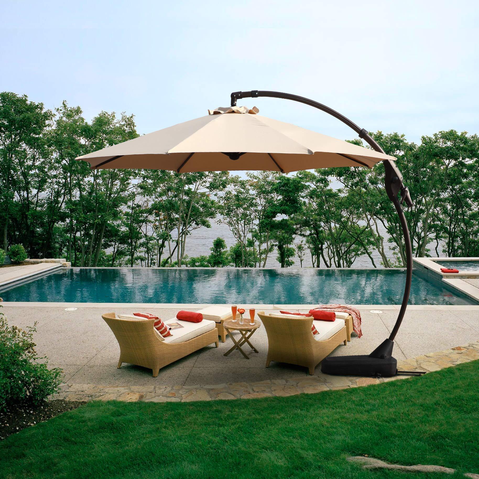 Grand Patio Napoli Deluxe 11 FT Curvy Aluminum Offset Umbrella, Patio Cantilever Umbrella with Base, Champagne by Grand Patio (Image #2)
