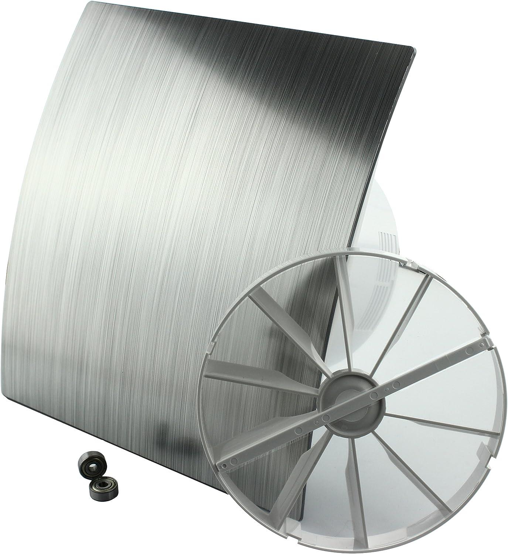 MKK DUO Design Badl/üfter Wandl/üfter Turbo Ventilator R/ückstauklappe Kugellager Standard /Ø 100 mm Silber 18153-008