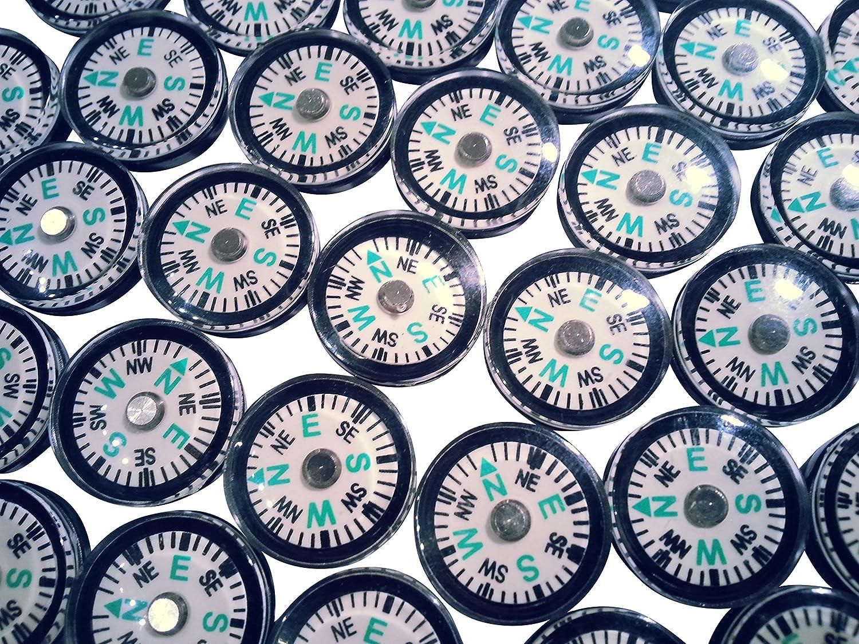 100 Mini Kompass fluoreszierend 2cm