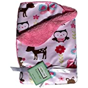 Baby Blankets For Girls Lambs and Ivy, Warm and Cozy, Extra Soft Micro Plush Fleece Blanket, Anti-Pilling, Butterflies Owls and Lady Bugs Theme on a Pink Sherpa, 30 x 40 in