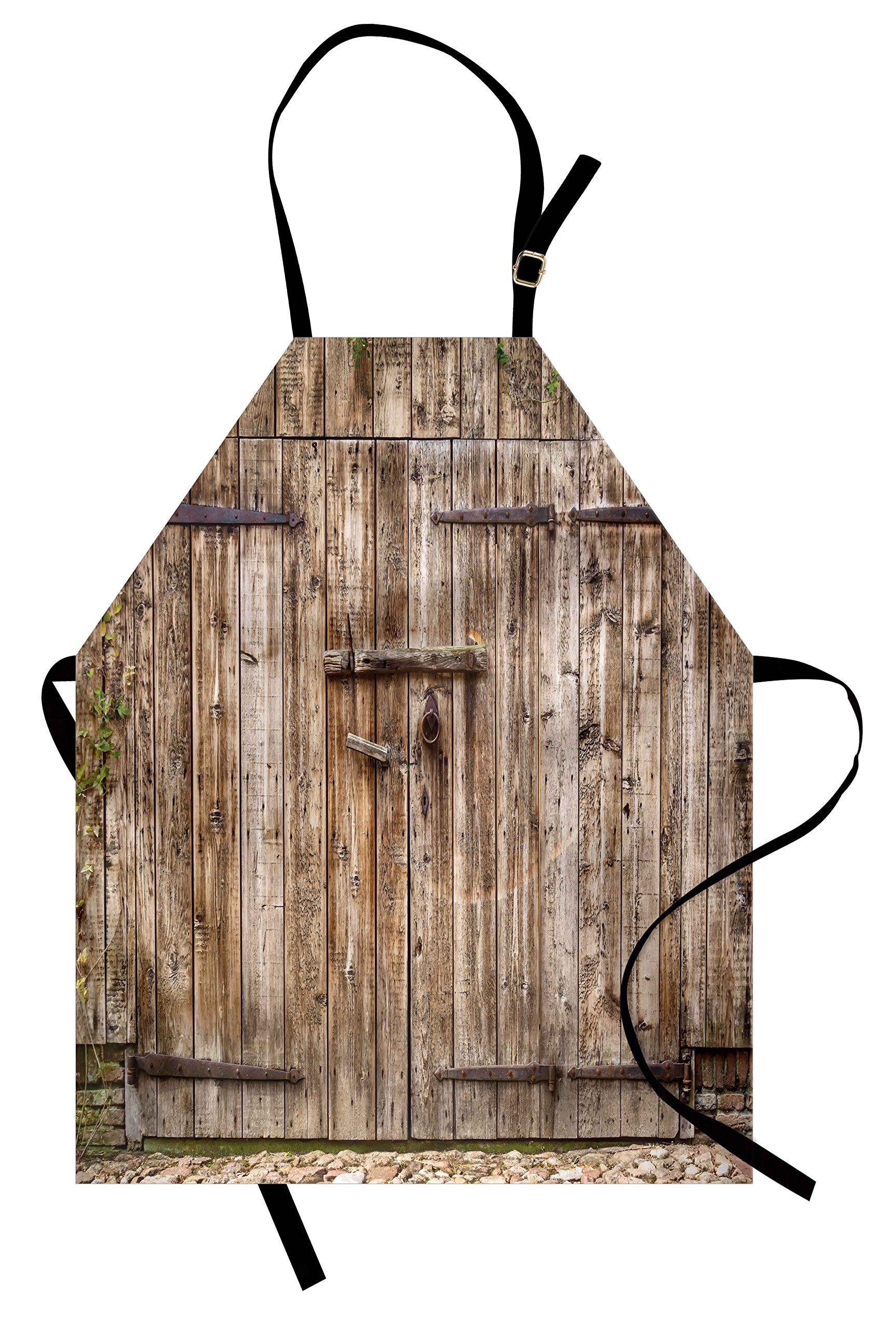 Ambesonne Rustic Apron, Old Oak Closed Garage Door with Steel Hinges Vintage Typical Cottage Doorway Image, Unisex Kitchen Bib Apron with Adjustable Neck for Cooking Baking Gardening, Tortilla