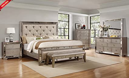 Exceptionnel Classic Contemporary Ava Bedroom Collection Silver Bronze Antiqued Mirrored  Finish Queen Size Bed 4pc Set Tufted