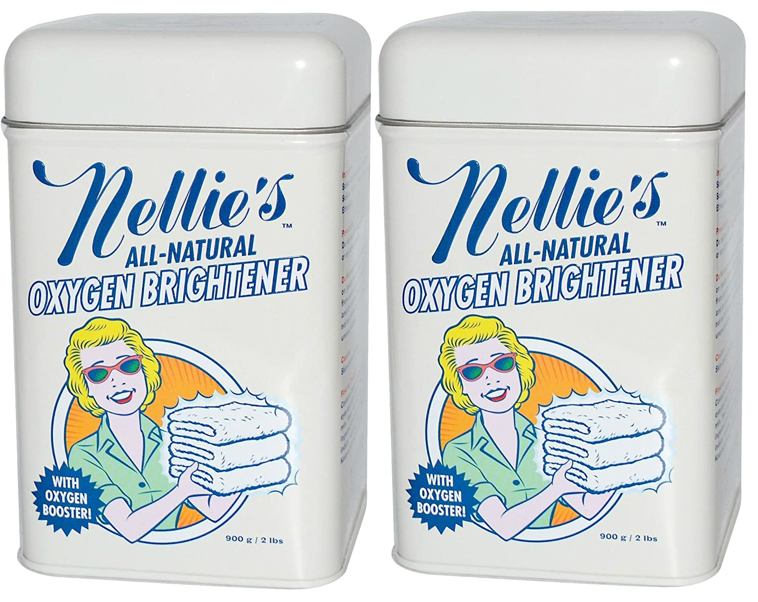 Nellie's All-Natural Oxygen Brightener Tin - 2 lb (pack of 2) Batten Industries Inc