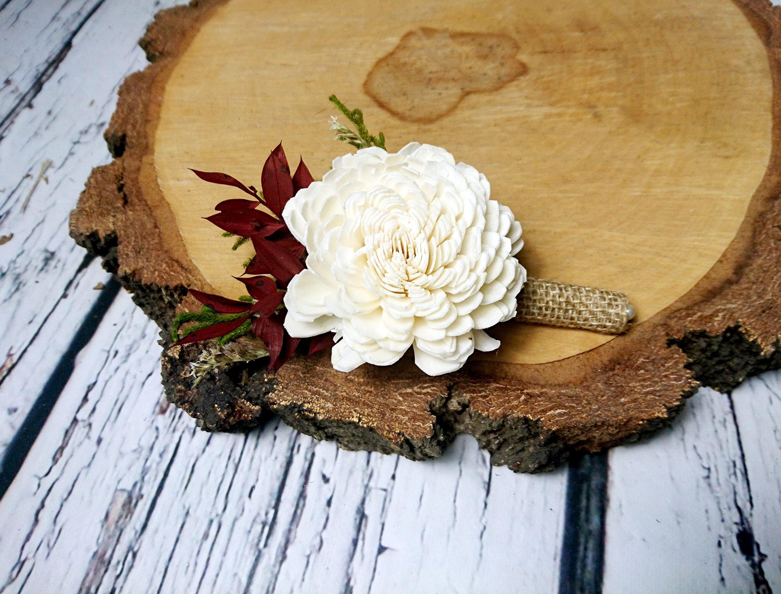 Ivory-Brown-Burgundy-Green-Rustic-Wedding-Boutonniere-Sola-Flowers-Burlap