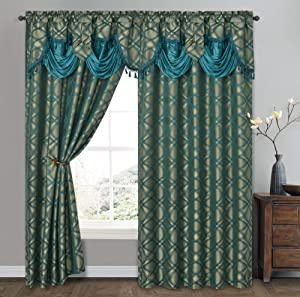 Dance with Wind. Jacquard Window Curtain Panel Drape with Attached Fancy Valance. 2pcs Set. Each pc 54 inch Wide x 84 inch Drop with 18 inch Valance. (Teal)