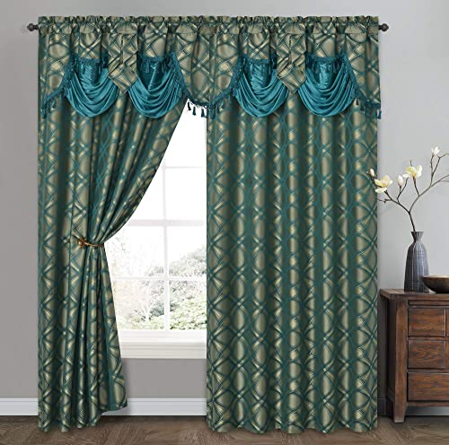 GOHD Golden Ocean Home Decor Dance with Wind. Jacquard Window Curtain Panel Drape with Attached Fancy Valance. 2pcs Set. Each pc 54 inch Wide x 84 inch Drop with 18 inch Valance. Teal