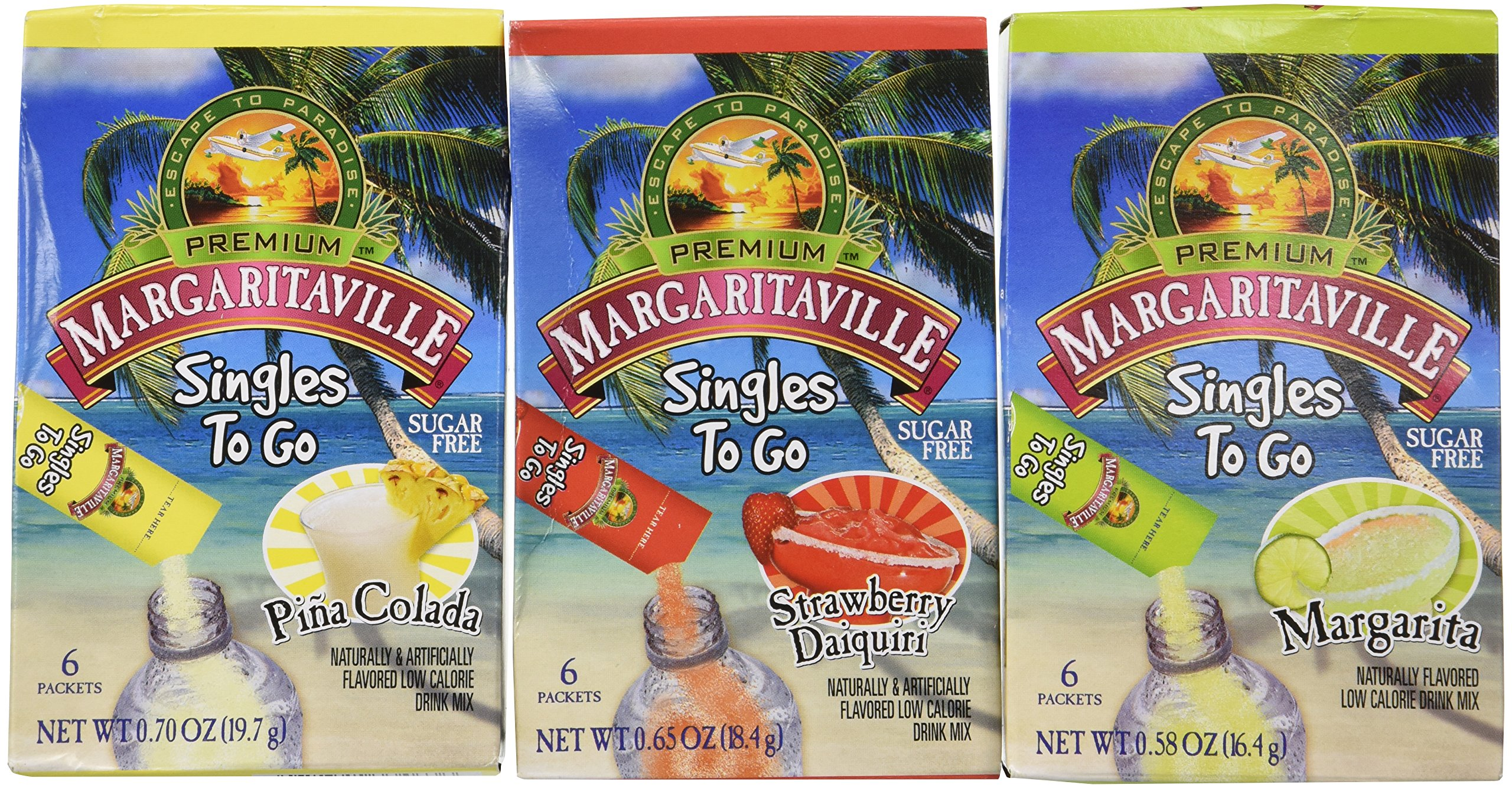 Margaritaville Singles To Go Drink Mix Ultimate Summer Variety Party Bundle Margarita, Pina Colada & Strawberry Daiquiri, (18 Piece Assortment)