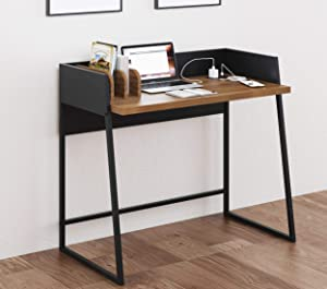 Home Office Study Writing Small Table Desk with Hutch Organization and Charging Station,Computer PC Laptop Table Desk,Modern Simple Style Table Desk,Walnut Finish …