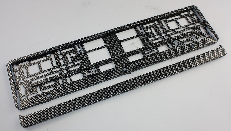 ZentimeX Z788674 Kennzeichenhalter Kennzeichenhalterung 3D Schwarz//Silber gl/änzend Carbon Optik f/ür DE-Standard Kennzeichen 1 St/ück