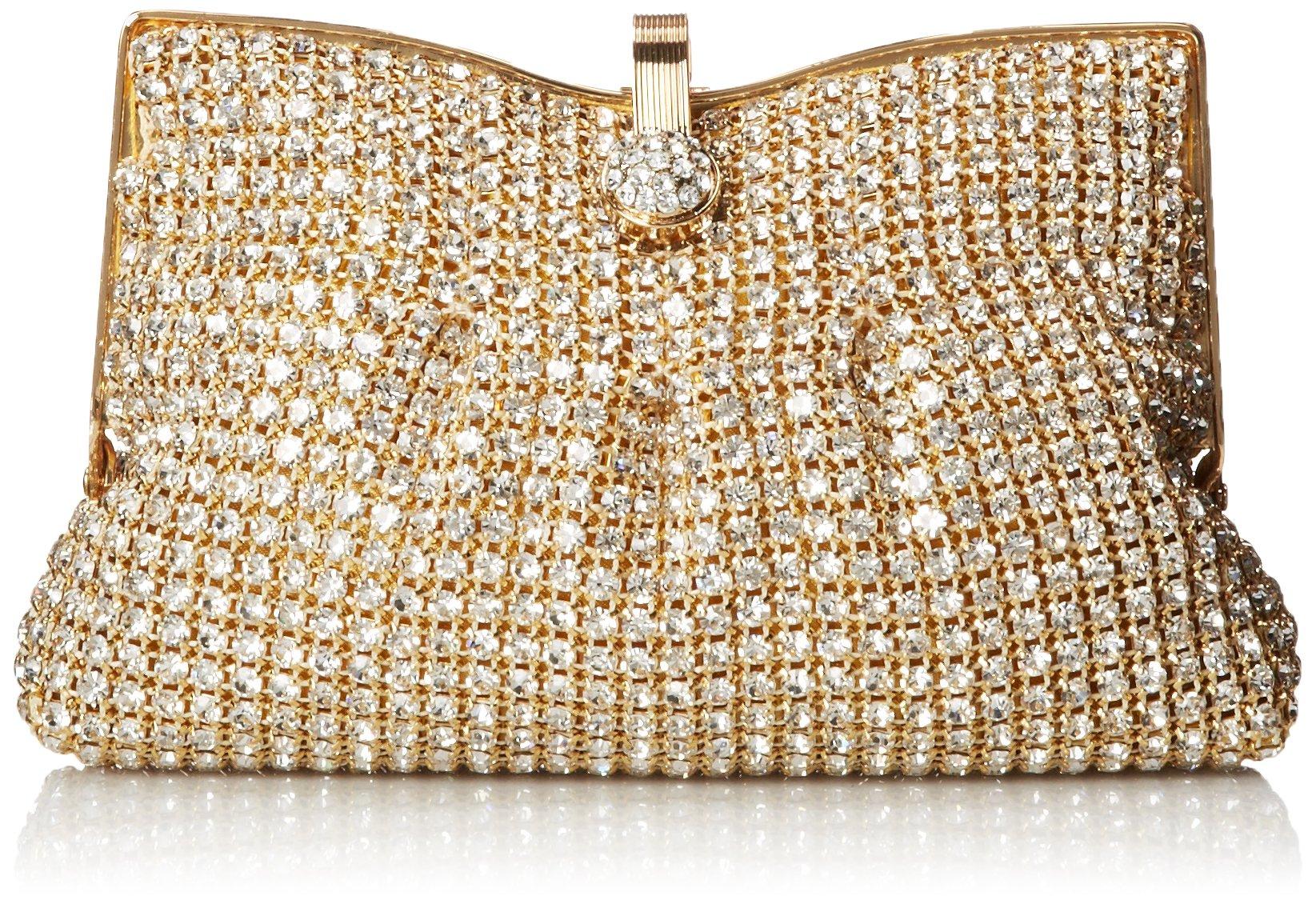 La Regale Fully Rhinestone Clutch,Gold,One Size
