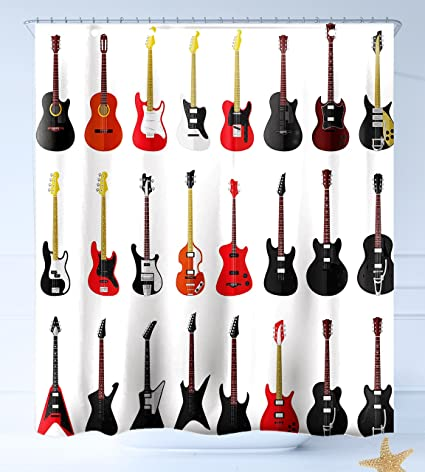 HAIXIA Cortinas de Ducha Guitarra de Mano Estilo Guitarra Eléctrica Sobre Fondo Blanco Rock Música acords
