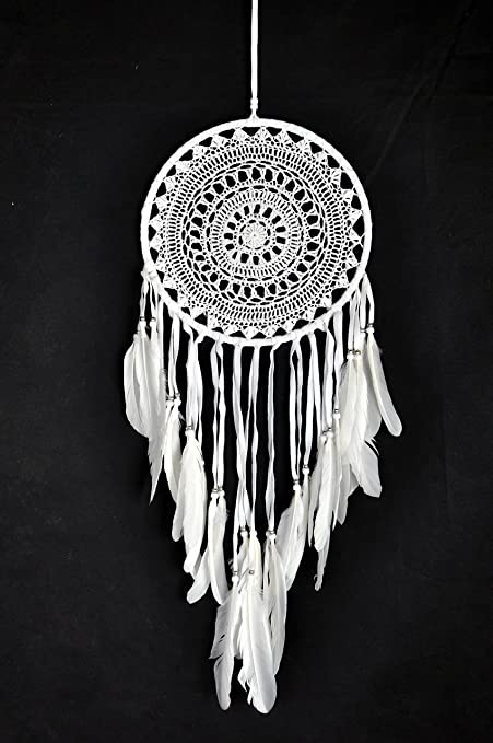 Amazoncom Caught Dreams Dream Catcher White Crochet With Swan