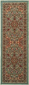 "Ottomanson Ottohome Persian Heriz Oriental Design Runner Rug with Non-Skid Rubber Backing Area Rug, 20"" L x 59"" W, Sage Green/Aqua Blue"
