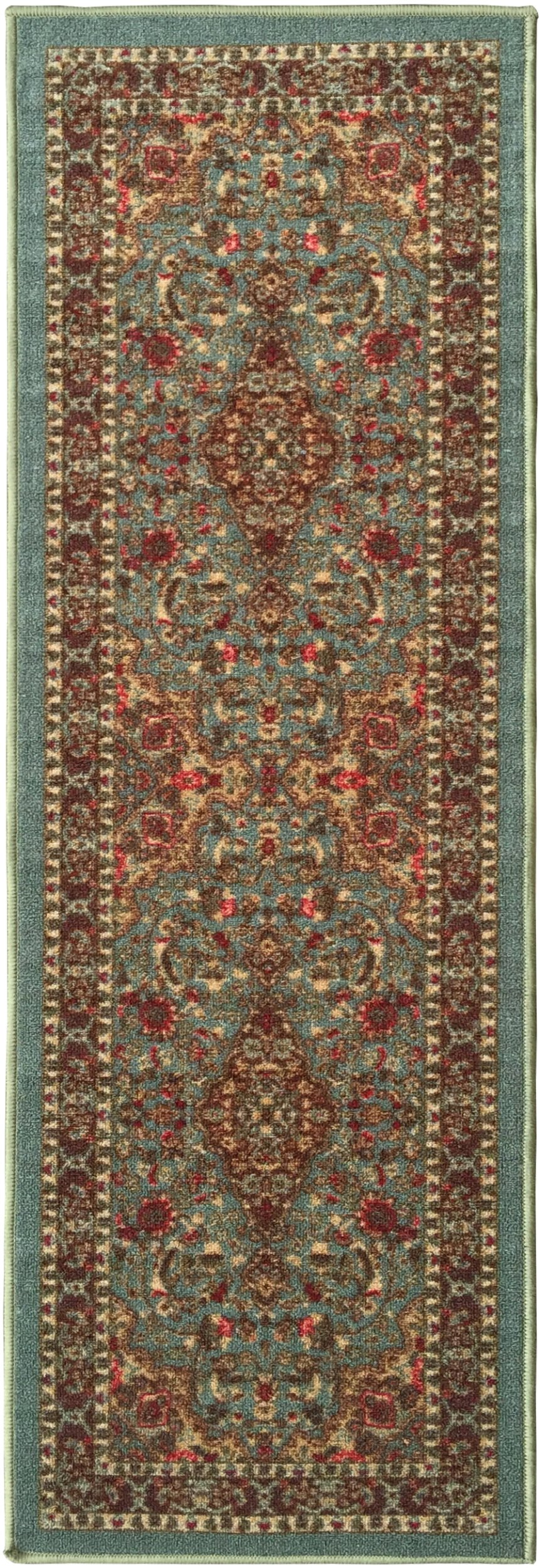 Ottomanson Ottohome Persian Heriz Oriental Design Runner Rug with Non-Skid Rubber Backing Area Rug, 20'' L x 59'' W, Sage Green/Aqua Blue