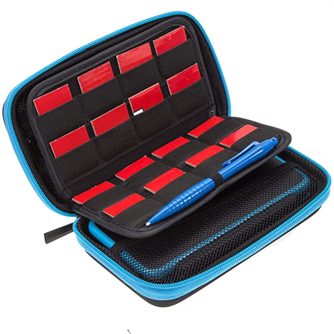 BRENDO Hard Carrying Case for New Nintendo 2DS XL + Large Stylus, Fits Wall Charger, 24 Game Cartridge Case Holder, Large Accessories Pocket - Black + ...