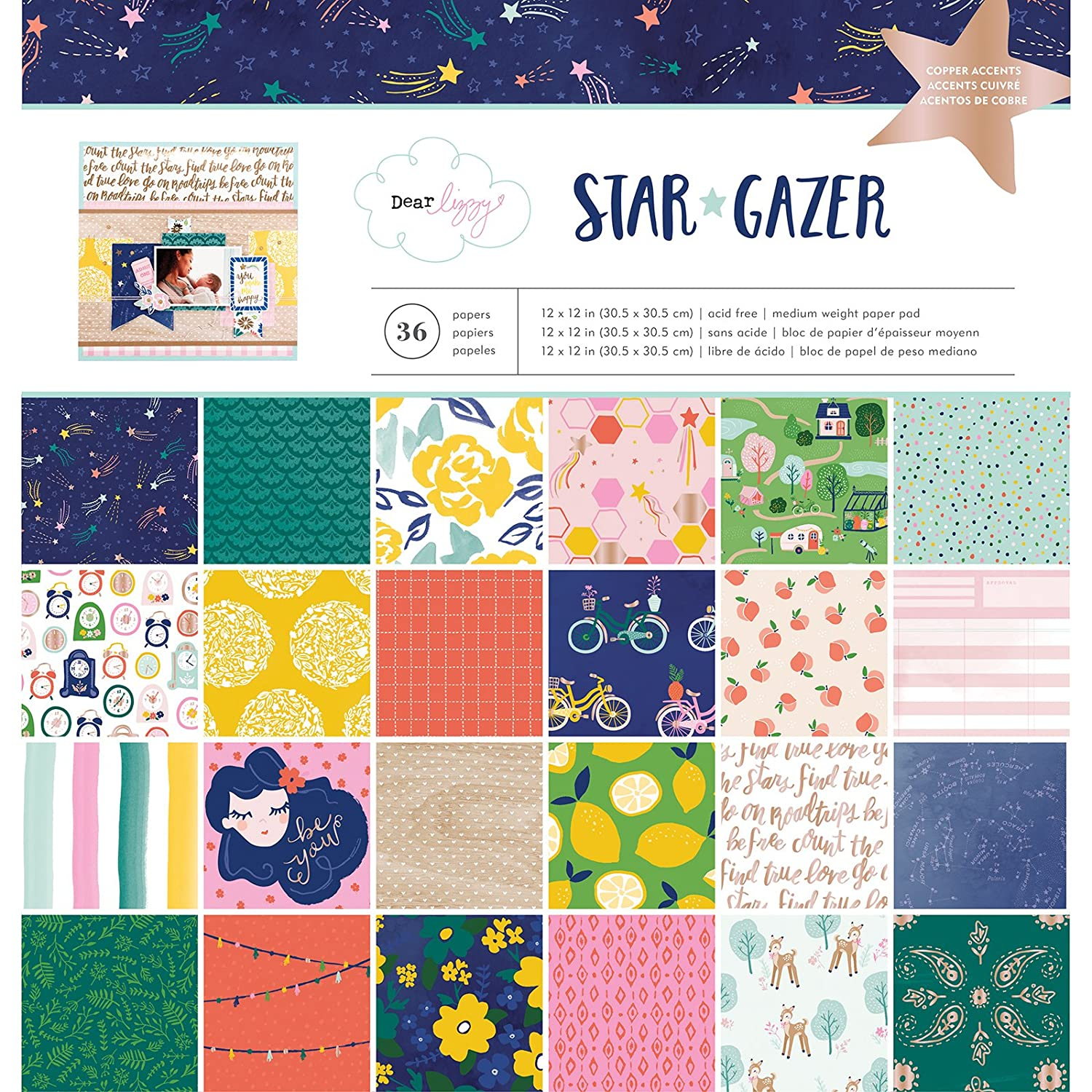 American Crafts 12 x 12 inch 36 Sheet Paper Pad with Copper Foil Dear Lizzy Star Gazer