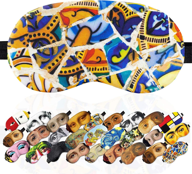 Sleep Mask Masterpieses for Women Men - 100% Soft Cotton - Comfortable Eye Sleeping Mask Night Cover Blindfoldfor Travel Airplane (Mosaic Gaudi, Plastic Pack)