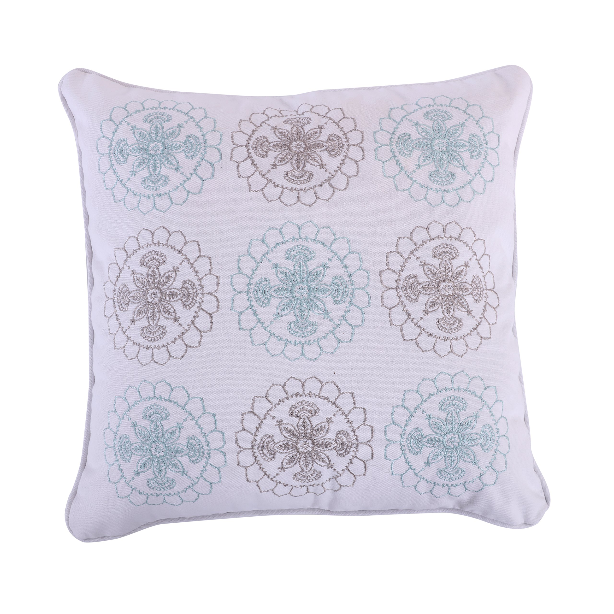 Levtex Spruce Spa Embroidered Pillow, Blue, Grey