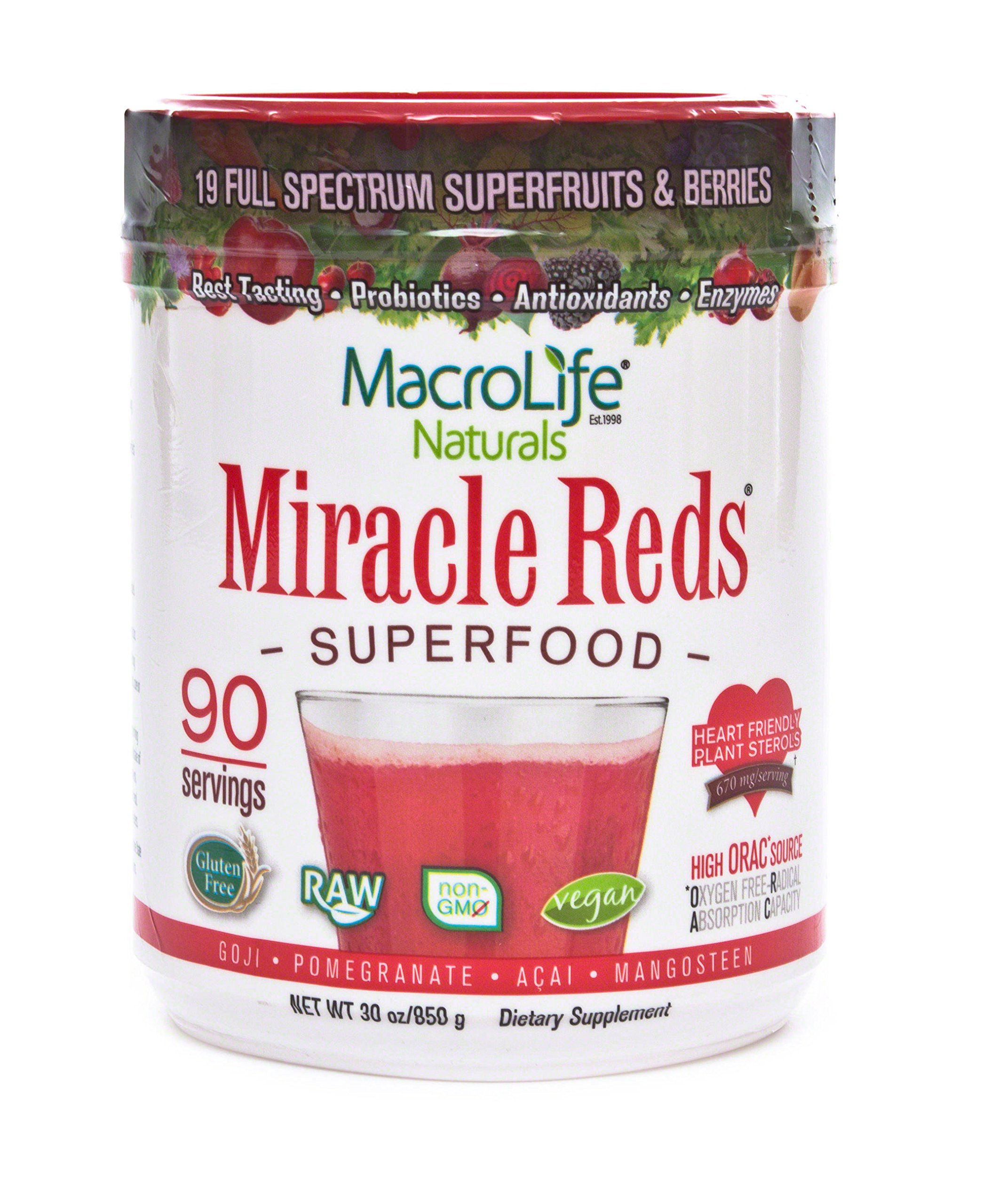 Organic super food supplement with probiotics: Miracle Reds Superfood fruit & veggie drinks powder with ingredient list of vital digestive enzymes, polyphenols, vitamins & minerals for all day energy