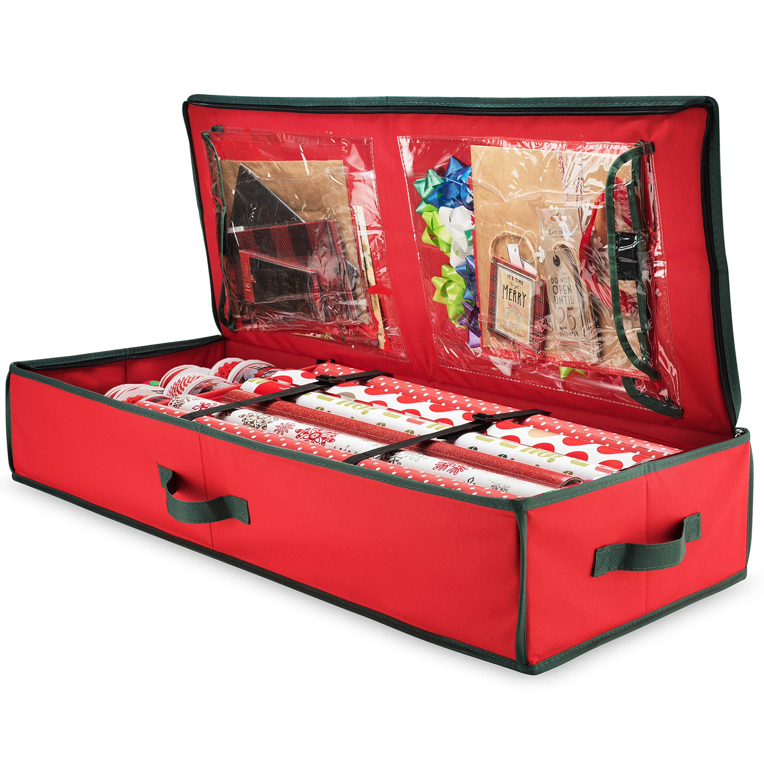 Premium Wrap Organizer, Interior Pockets, fits 18-24 Standers Rolls, Underbed Storage, Wrapping Paper Storage Box and Holiday Accessories, 40'' Long - Tear Proof Fabric - 5 Year Warranty by ZOBER