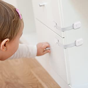 Image: Getrend Adjustable Child Safety Locks | Easy to Install (No Drilling) | Baby Proof Latches For Cabinet Door, Drawer, Oven, Toilet Seat, Refrigerator
