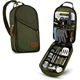 Camp Kitchen Cooking Utensil Set Travel Organizer Grill Accessories Portable Compact Gear for Backpacking BBQ Camping Hiking