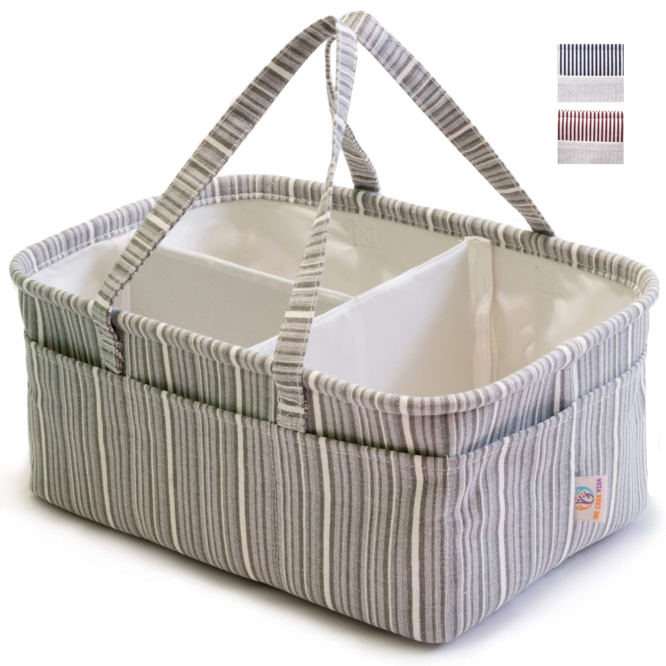 Special Diaper Caddy Organizer Storage Solution for Your Newborn - Organize Everything You Can Imagine - Great Baby Shower Gifts for Boys and Girls (Gray) by We Care Vida