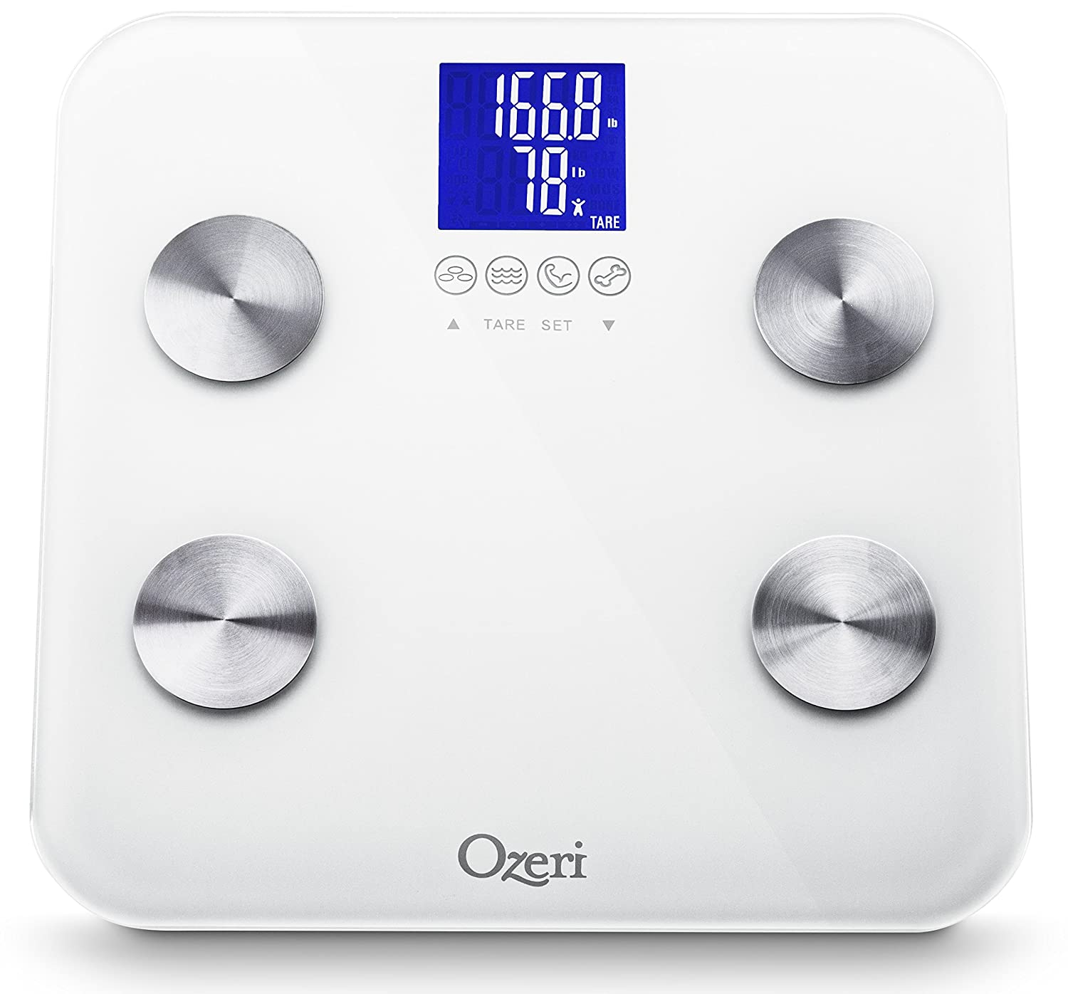 Ozeri Touch 440 lbs Total Body Bath Scale, White - Measures Weight, Fat, Muscle, Bone & Hydration with Auto Recognition and Infant Tare Technology ZB13-W2