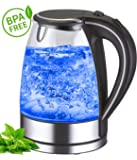 Glass stainless steel kettle exclusive 1.7L 360 ° cordless blue LED interior lighting Stainless steel Glass Design Cordless