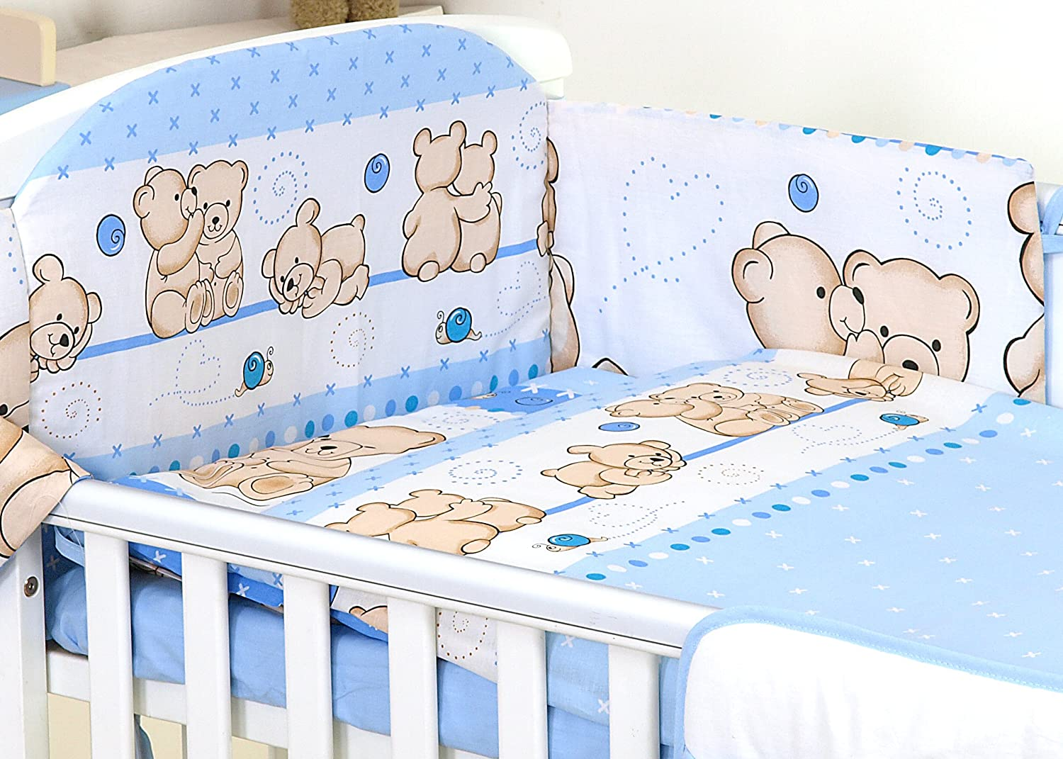 3 pc set BLUE FRIENDS TEDDY BEAR PATTERN inc DUVET COVER-PILLOW CASE-BUMPER - FOR COT 120X60 OR COT BED 140X70 (COT BED 140X70) SCANDI BEDDING LIMITED