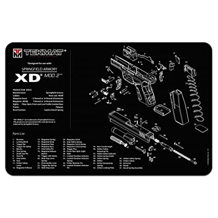 tekmat springfield armory xd mod 2 cleaning mat / 11 x 17 thick, durable