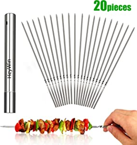 HeyWin Barbecue Skewers for Grill BBQ,Stainless Steel Reusable Grilling Sticks with Durable Holder Bag or with Container Tube,Dishwasher Safe (20)