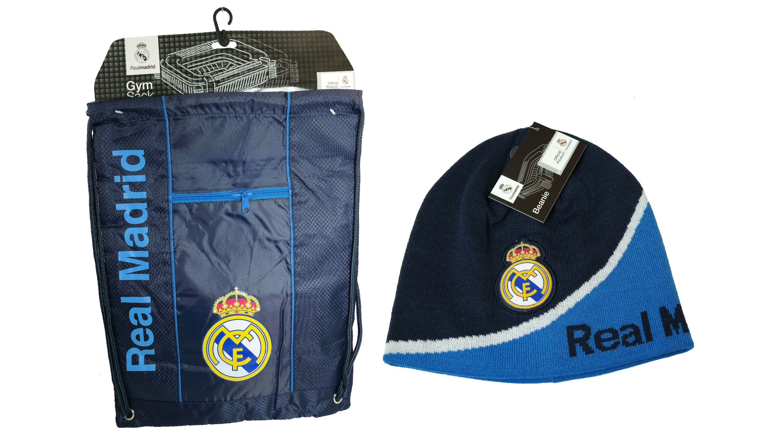 Real Madrid C.F. Official Licensed Soccer Cinch Bag & Beanie Combo 04-3